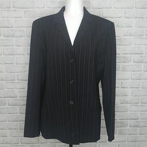 Anne Klein Black Pinstripe Wool Blazer Size 16